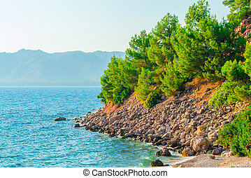 wild rocky beach of the Aegean Sea