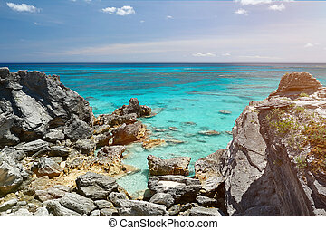 wild rocky beach with clean water