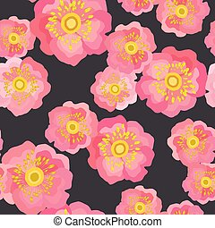 Wild rose vector seamless pattern