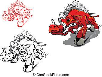 Wild running boar as a tattoo or mascot