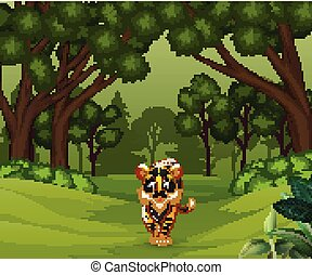 Wild scary tiger walking in the forest