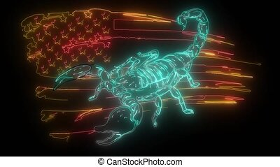 wild scorpion with american flag digital neon video