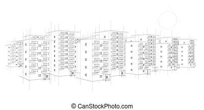 wild sketch of housing area