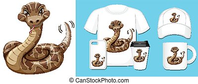 Wild snake on different product designs illustration