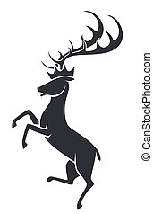 Wild stag or deer in motion , silhouette icon - Stag with ...