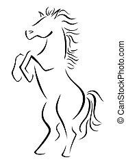 Wild stallion - Horse illustration created in sketch style