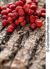 wild strawberries on wooden background