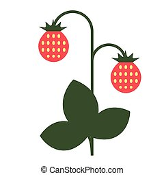 wild strawberry flat color art illustration