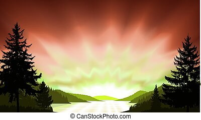 Wild terrain background. Lake (river) and pine forest. ...