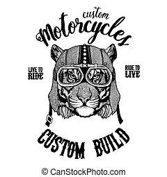 Wild tiger Biker, motorcycle animal. Hand drawn image for...