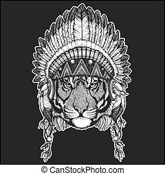 Wild tiger Cool animal wearing native american indian headdress with feathers Boho chic style Hand drawn image for tattoo, emblem, badge, logo, patch