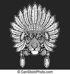 Wild tiger Traditional ethnic indian boho headdress Tribal...