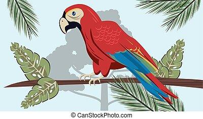 wild tropical parrot bird in the jungle scene