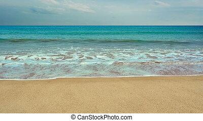 Wild tropical sandy beach with waves