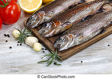 Wild Trout being prepared for Cooking