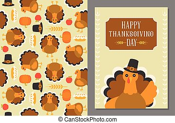 wild turkey seamless pattern and greeting card template for...