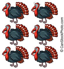Wild turkey with different emotions illustration