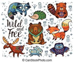 wild, und, free., waldland, stammes-, tiere, vektor, satz