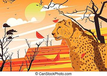Wild vector savannah flat illustration