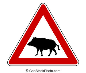 wild, waarschuwend, varken, meldingsbord