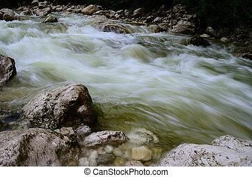 wild water in mountain stream