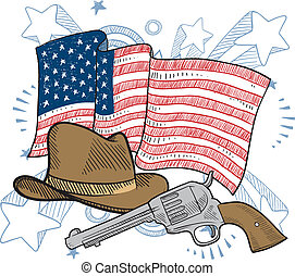 Doodle style American cowboy or Wild West objects in front of an American flag background