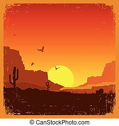 American wild west desert on old paper texture. Vector sunset landscape