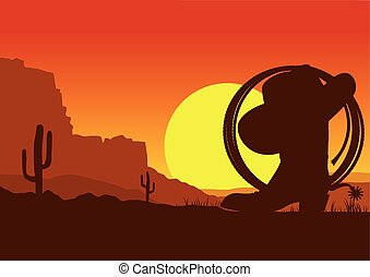 Wild west american desert landscape with cowboy boot and ...