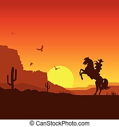 American wild west desert with cowboy on horse. Vector sunset landscape