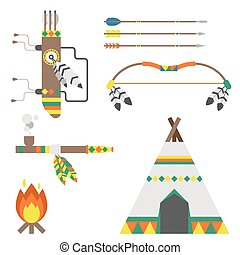 Wild west american indian designed element traditional art concept and native tribal ethnic feather culture vector illustration.