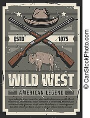 Wild West American legend, sheriff hat and rifles