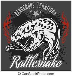 Wild west and rattlesnake - vintage vector artwork for wear...