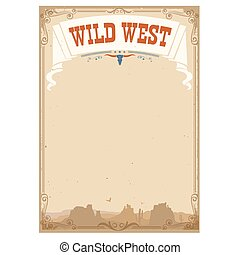 Wild west background for text. Vector illustration