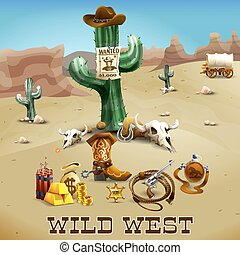 Wild West Background Illustration - Wild west realistic ...