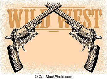 wild west background in brown colors with the guns