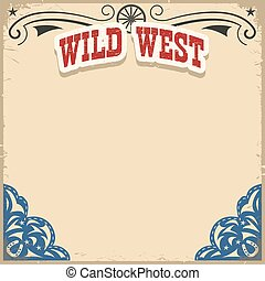 Wild West background on old paper texture.