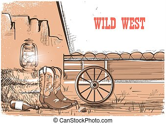 Wild west background with cowboy boots. Vector american prairies