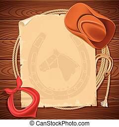 Wild west background with cowboy hat and american lasso on ...