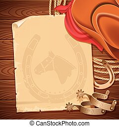 Wild west background with cowboy hat and american lasso on...