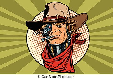 wild West bandit robot steampunk, pop art retro vector...