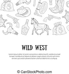 Wild West Banner Template with Place for Text, Western, Cowboy Hand Drawn Symbols Monochrome Vector Illustration