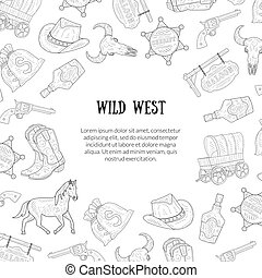 Wild West Banner Template with Place for Text, Western, Cowboy Hand Drawn Symbols Pattern Monochrome Vector Illustration