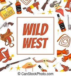 Wild West Banner Template with Western Symbols, Cowboy Objects Vector illustration