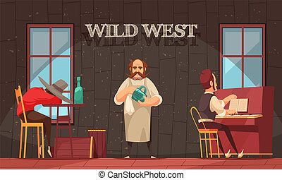 Wild West Bartender Background - Cowboy composition with ...