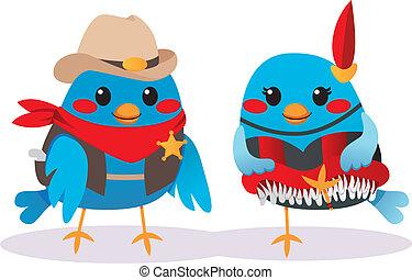 Wild West Birds - Cute male bird Sheriff and female bird...