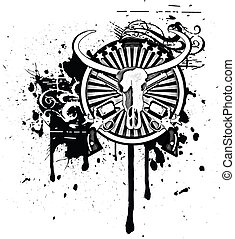 Black & white round vignette with skull of Buffalo and two guns