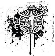 Wild West black & white - Black & white round vignette with ...