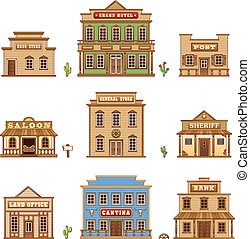Wild West buildings set for game level
