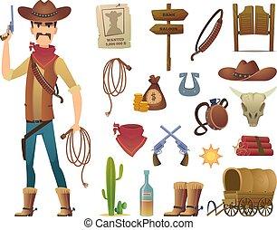 Wild west cartoon. Saloon cowboy western lasso symbols vector pictures isolated