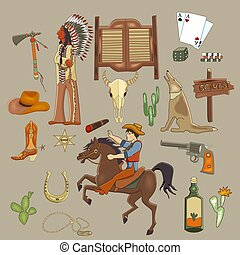 Wild west cartoon set.Vector illustration of  Mustang, cowboy, cactus, tequila, long gun, horseshoe, indian, shief, leather boots, saloon, tomahawk, buffalo skull, lasso.